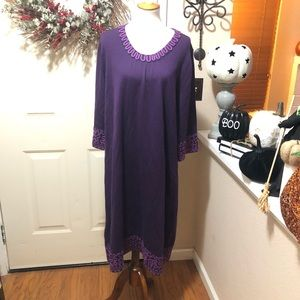 Deep Eggplant Embroidered Boden Long Wool Dress